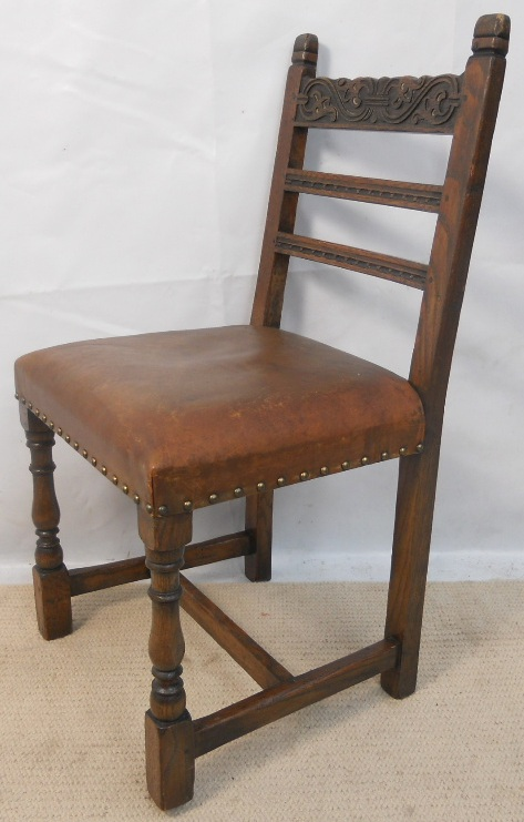 Set Of Four Carved Oak Tudor Style Leather Seat Dining Chairsu003d SOLD